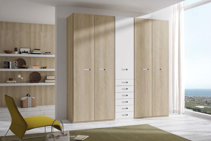 Armario madera y blanco con cajones centrales muebles avalos - Armario madera blanco ...