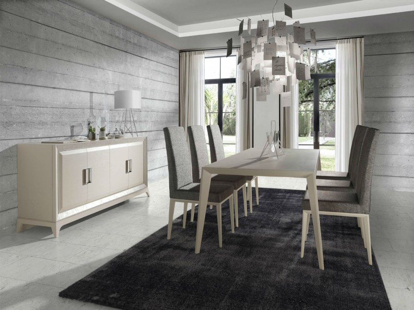 Comedor blanco y gris moderno muebles avalos for Comedores modernos color blanco