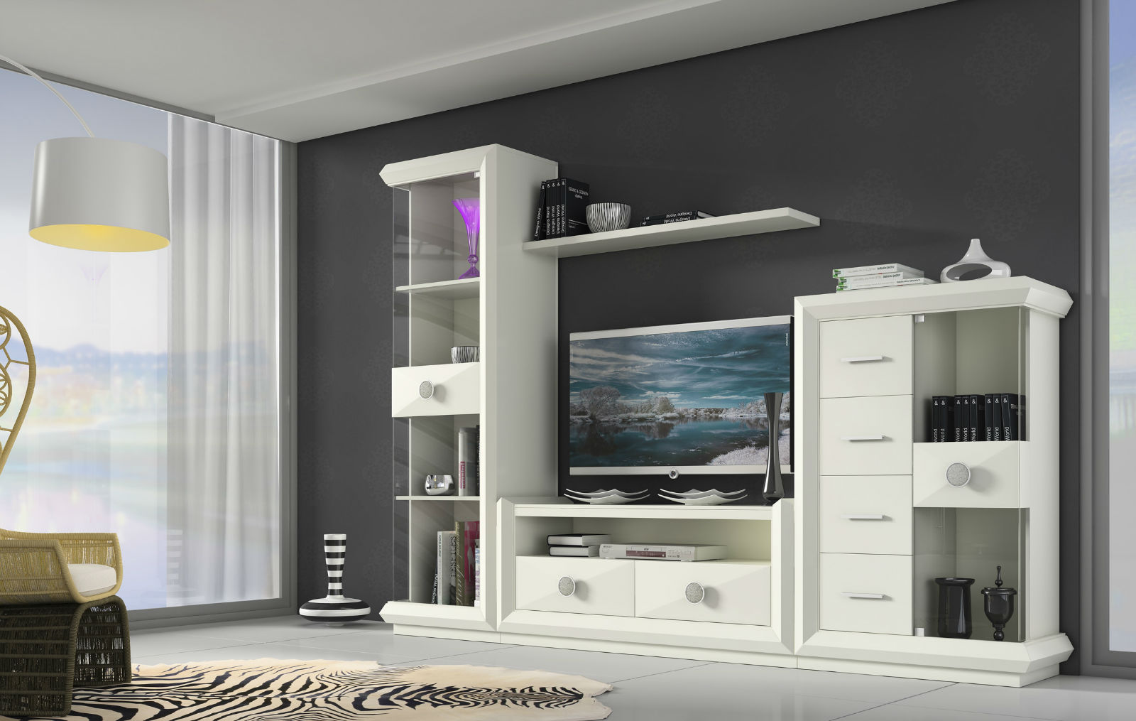Sal n blanco moderno muebles avalos - Salones juveniles modernos ...