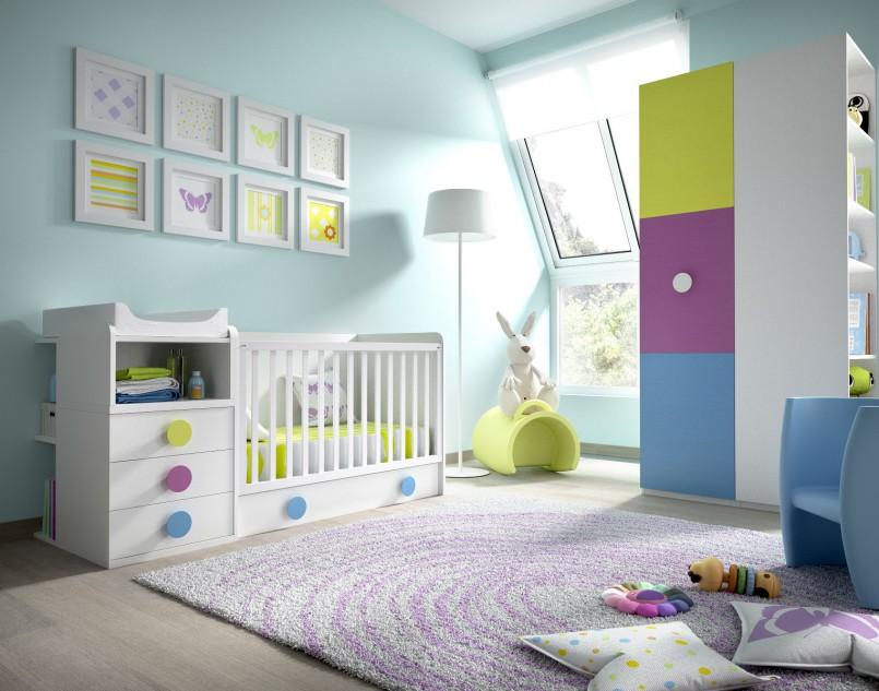 Infantil blanco pistacho azul y morado muebles avalos - Habitaciones infantiles bebe ...
