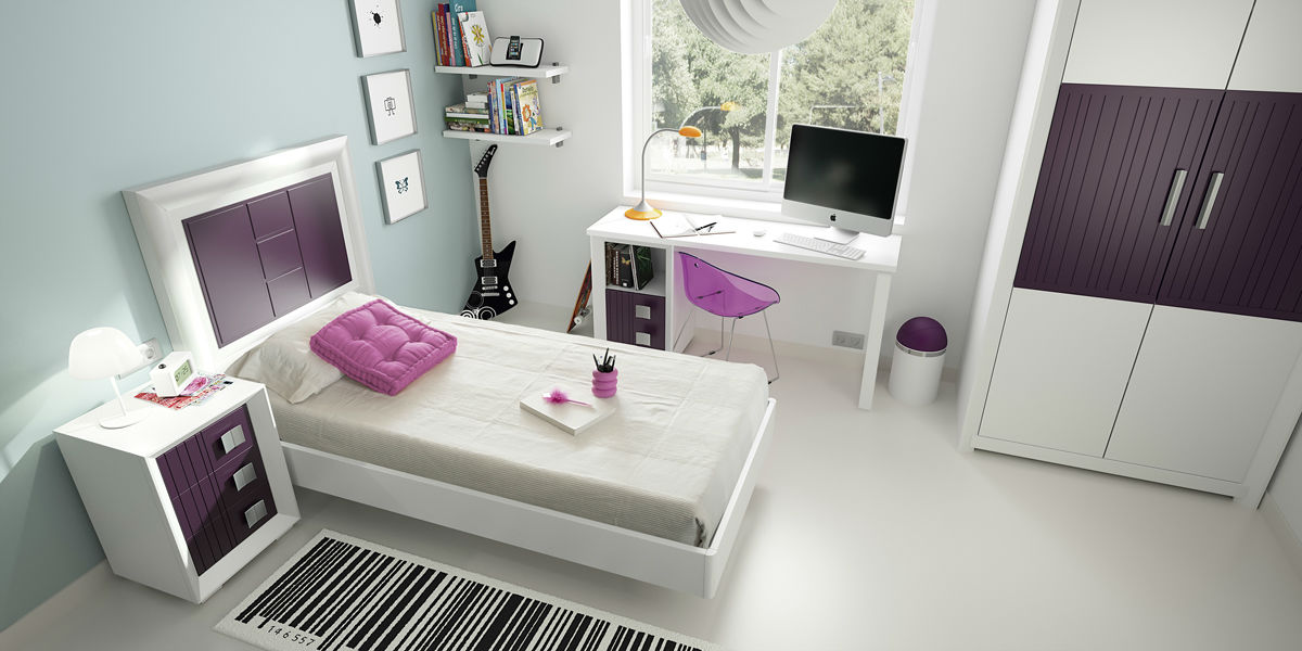 Juvenil blanco y morado muebles avalos for Muebles de comedor modernos y baratos