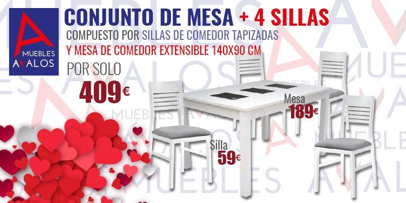 Conjunto mesa y sillas de comedor, Almería, Ofertas