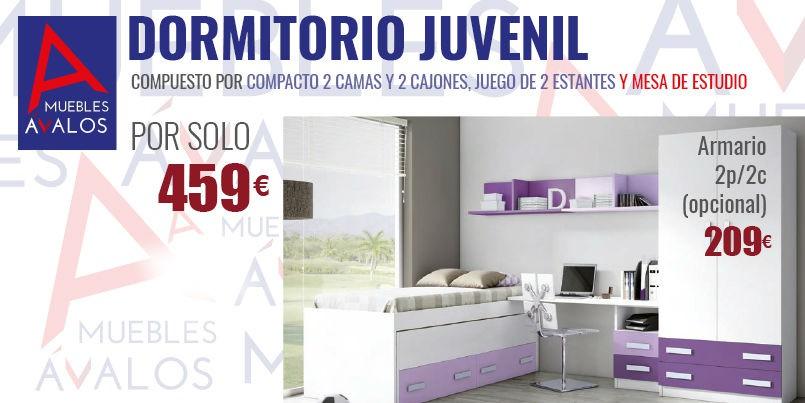 Dormitorio juvenil blanco y lila cama nido escritorio - Dormitorio juvenil nina ...