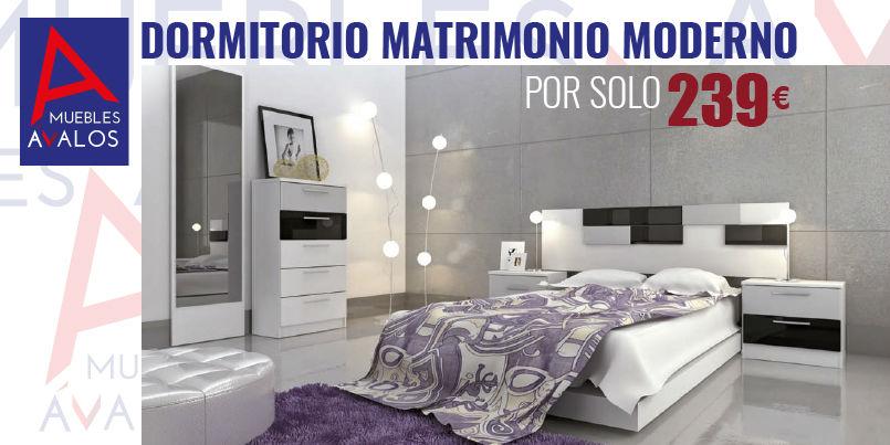 Dormitorio econ mico almer a blanco negro plata s lo for Dormitorio matrimonio negro