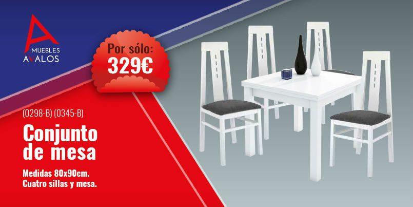 Conjunto mesa y sillas de comedor en blanco - Muebles Almería Abrucena