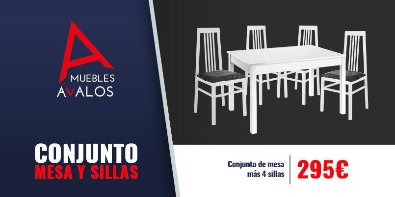 Conjunto de mesas y sillas muebles avalos for Conjunto mesa y sillas salon