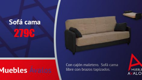 Sof cama con brazos muebles avalos for Sofa cama sin brazos